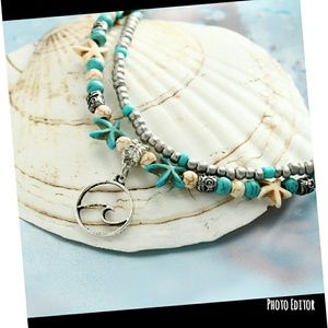 Nwt Boho Beads and Starfish Anklet